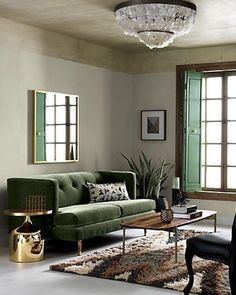 green with envy. tap link in bio to shop! #cb2spring #cb2 #spring2016 #furniture #new #sofa #brass #livingroomgoals