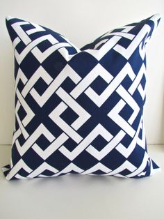 Sale THROW PILLOWS 20x20 Navy Blue Throw Pillow Covers Indoor Outdoor 20 x 20 Dark Blue Nautical Decorative Throw pillows