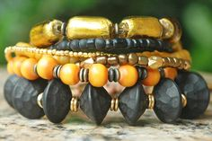 Wild Cat Charm Bracelet: Stunning Venetian Gold Glass, Carved Blackwood, Amber  Mixed Media Bracelet $195