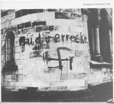 Duesseldorf, Germany, Prewar, A swastika on the wall of a synagogue.