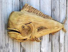 Mahi Mahi Wood Carving Decor Hand Carved by EcoArtWoodDesign