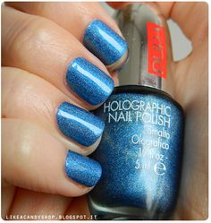 Like a candy shop Holographic Nail Polish, Candy Shop, Contemporary Style, Eyeliner, Make Up, Nail Art, My Style, Blue, Beauty