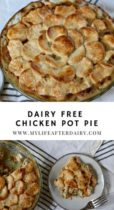 This dairy free Chicken Pot Pie is the ultimate comfort food. It's creamy filling packed with chicken, carrots, celery, and peas leaves you full and satisfied. With a flaky dairy free crust, this dish makes the perfect comforting dinner. #cickenpotpie #dairyfree #comfortfood #mylifeafterdairy Chicken Recipes Dairy Free, Milk Allergy, Creamy Tomato Sauce, Dairy Free Diet, Create A Recipe, 30 Minute Meals, Yum Yum Chicken, Comfortfood, Pot Pie