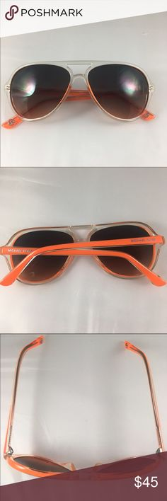 Orange Michael Kors sunglasses These Michael Kors Sunglasses are a funky oversized two-tone plastic aviator featuring the Michael Kors logo on the contrasting color temples. High quality gradient lenses provide 100% UV protection. Gently used in great shape with minor signs of wear on lens. Price is firm. Michael Kors Accessories Sunglasses