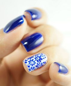 Simple Nail Art Designs for Short Nails. Love the blue with the white and blue flowers accent nail. Very simple. Very cute. Could even use a stamp jnstead of hand drawing the flowers