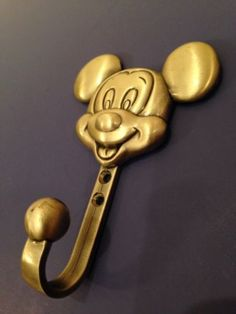Disney Mickey Mouse Retired Metal Brass Coat Hanger Wall Hook Display Figure