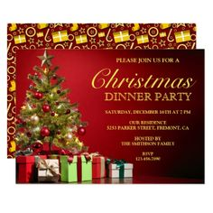 Classic Red Christmas Dinner Party Invitation - Xmas ChristmasEve Christmas Eve Christmas merry xmas family kids gifts holidays Santa