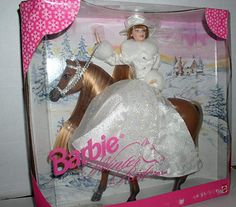 Fashion Doll: 1998 Barbie Winter Ride Gift Set with Horse Doll ** Continue to the product at the image link. Barbie Horse, Barbie I, Barbie Dream, Vintage Barbie Dolls, Barbie And Ken, Diy Barbie Clothes, Beautiful Barbie Dolls, Barbie Accessories, Barbie Collector