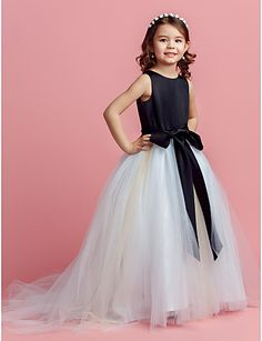 Lanting Bride Ball Gown Sweep / Brush Train Flower Girl Dress - Satin / Tulle Sleeveless Jewel with Bow(s) / Sash / Ribbon   2174388 2016 –  $69.99