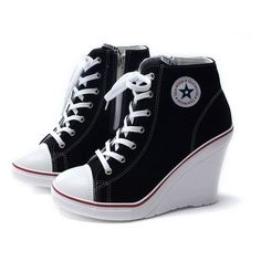 EpicStep Women's Canvas High Top Wedges High Heels Casual Fashion Snea ❤ liked on Polyvore featuring shoes, canvas sneakers, canvas high tops, wedges shoes, wedge heel sneakers and high top shoes