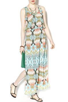 Aztec print layered maxi dress with a lit on skirt and racer back with cutout detail. A beautiful light weight summer dress Aztec Maxi Dress by Freeway. Clothing - Dresses - Maxi Clothing - Dresses - Casual Illinois North Carolina