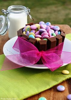 Easter treat: cover a cupcake with halloween sized Kit Kats, cover with pastel coloured candies.