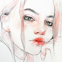 """2,372 次赞、 17 条评论 - R O B Y N (@rcbynn) 在 Instagram 发布:""""#doodle ✨ #portraitart #illustration #ilustracion  #watercolorpainting #watercolorart #aquarelle…"""""""