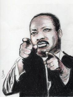 """""""Martin Luther King Jr.""""  8 X 10 in   Colored pencil  2011 by Yoshiko Mishina  Private collection"""