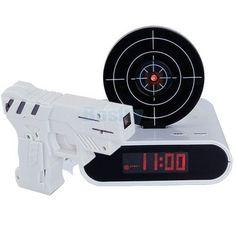 Laser Gun Target Alarm Waken Lcd Desk Clock Alert Gadget Novelty Shooting Toy
