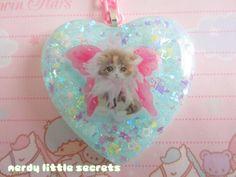 Fairy Kei Pastel Cat Necklace by NerdyLittleSecrets on Etsy, $15.00