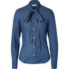 983e5dc22c7 RED Valentino - Stretch Denim Tie Neck Shirt ( 185) ❤ liked on Polyvore  featuring