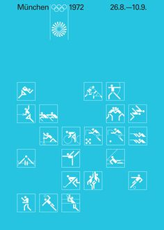 Otl Aicher / The Olympic Games / Summer Olympics / Munich 1972 / Event Icons / Poster / 1972
