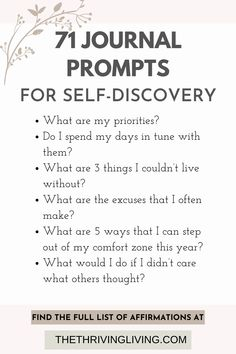Looking for journal prompts on gratitude, self discovery, or creativity? In this post you'll find 71 self-discovery journal prompts, so grab yourself a pen and a notebook to start journaling now. writing prompts | journal prompts | prompts writing | positive journal prompts | writing ideas prompts | writing ideas prompts | interesting writing prompts | writing prompts ideas | gratitude writing prompts | self discovery journal prompts | journal prompts for adults| journal prompts personal Writing Ideas, Writing Prompts, Self Development, Personal Development, Journal Prompts For Adults, Self Improvement Quotes, Listening Skills, Self Motivation, Self Discovery