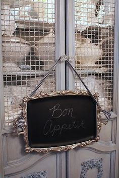 Love the silver tray painted with chalkboard paint.  Add ribbon to turn it into a chic message board.