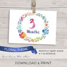 Monthly baby diy baby photo props floral photo signs for baby - colorful FLOWERS wreath - printable baby milestone photo cards DIGITAL by HandsInTheAttic
