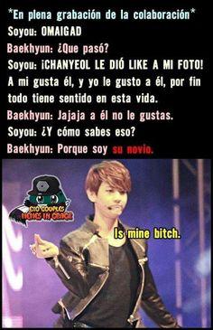 Ahhhh como me gustan los memes Chanbaek 😆 Chanbaek, Baekyeol, Bts And Exo, Exo K, Bambam, Got7, Bts Memes, Baekhyun, Drama Memes
