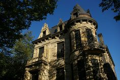 Hannes Tiedemann House (The Franklin Castle)                Where: Cleveland, OH  What: Four-story Gothic estate, with hidden passageways, tunnels and rooms; built 1865  Why: Owner Hannes Tiedemann's wife and niece died on site before he sold the house, which then led to rumors of murder...