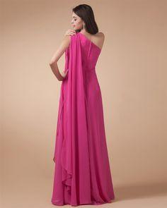 osell wholesale dropship One Shoulder Ruffle Sleeveless Zipper Chiffon Floor Length Woman Prom Dress $68.87