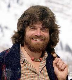 Reinhold Messner -  for his first Himalayan expedition he was going to go straight up the highest sheer rock face in the world – the 15,000-foot, ice-covered face of Nanga Parbat.  In 1970 he became the first person to ever summit this Gateway to Hell using this borderline-suicidal route, then he camped on the summit, descended the other side, and subsequently became the only person to ever cross the mountain from one side to the other. Nanga Parbat, Mountain Climbing, Mountaineering, World, Face, People, Mount Everest, Respect, Outdoors