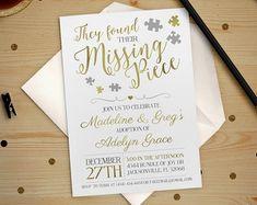 Adoption Invitation   Gold Foil Found their Missing Piece Adoption Party Baby Shower Invitation Printable DIY No. I232
