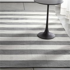 Olin Grey Striped Cotton Dhurrie Rug | Crate and Barrel - 8'x10' - $299 (less 15% is $254.15)