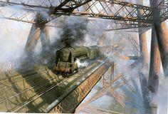 David Shepherd painting Steam Art, Steam Railway, Train Times, Train Art, British Rail, Steam Engine, Steam Locomotive, Train Stations, Art Prints