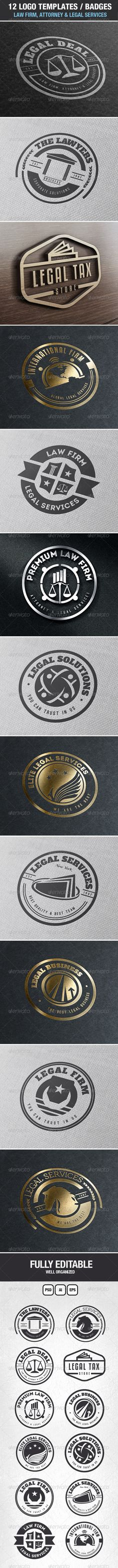 12 Logos & Badges Law Firm & Legal Services   Buy and Download: http://graphicriver.net/item/12-logos-badges-law-firm-legal-services/7048297?WT.ac=category_thumb&WT.z_author=designdistrictmx&ref=ksioks