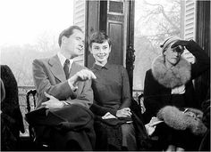 Audrey Hepburn and Mel Ferrer at Givenchy fashion show, Paris, February 23, 1955