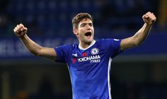 Marcos Alonso of Chelsea celebrates during the Premier League match between Chelsea and Everton at Stamford Bridge on November 5, 2016 in London, England.