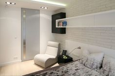 Cegła na ścianie w sypialni  - zdjęcie numer 2