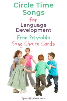 Looking for circle time ideas for preschool? These circle time songs for toddlers or preschool encourage language development! Circle Time Songs, Circle Time Activities, Early Learning Activities, Play Based Learning, Speech Therapy Activities, Preschool Activities, Kids Learning, Circle Time Ideas For Preschool, Song Time