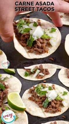 Carne Asada Street Tacos are one of my favorite Mexican food dishes. They're simple and can be made quickly with leftover Carne Asada from other meals! Mexican Food Dishes, Mexican Dinner Recipes, Baby Food Recipes, Beef Recipes, Cooking Recipes, Carne Asada Street Taco Recipe, Carne Asada Marinade, Healthy Recipe Videos, Healthy Recipes