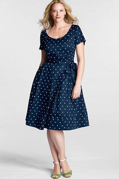 lands end womens plus size short sleeve dot sateen v back fit flare dress-$74