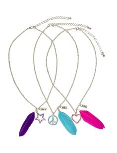 justice friendship necklaces | ... at justice bff feather necklace chain link necklacebff peace heart