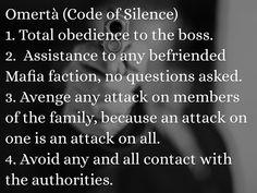 The code of silence: Omerta
