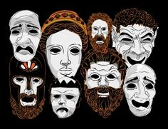 These are similar masks that many actors wore during the greek plays. The different types of masks represented gender and character.