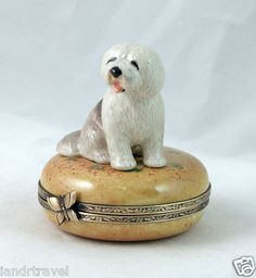 New Hand Painted French Limoges Box Cute Old English Sheepdog Dog Puppy | eBay
