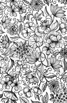 Hand drawn pencil floral pattern in black and white Art Print by micklyn – My ideas, my pins 2020 Pattern Coloring Pages, Coloring Pages To Print, Colouring Pages, Adult Coloring Pages, Black And White Drawing, White Art, Moleskine, Doodle Designs, Art Design