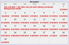 180 day calendar for people traveling to Disney World in November - reservations will be opening up soon!