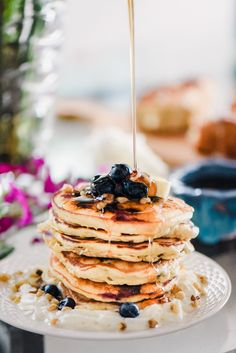 The Fluffiest Blueberry Pancakes made from scratch! Perfect for Mother's Day :)