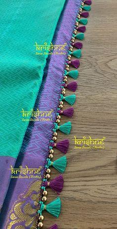 Saree Kuchu New Designs, Saree Tassels Designs, Silk Saree Blouse Designs, Blouse Neck Designs, Hand Work Blouse Design, Simple Blouse Designs, Stylish Blouse Design, Hand Embroidery Design Patterns, Beaded Jewelry Designs