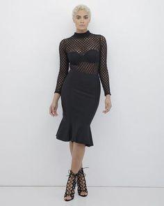 RHONDA Fish Tail Bodycon Skirt in Black at FLYJANE | Bodycon Skirt | Fish Tail Midi Skirt in Black | Black Skirt | Curve Hugging Skirt in Black