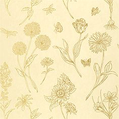 Brookfield #wallpaper in #metallic on #cream from the Gatehouse collection…
