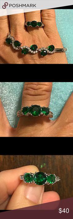 """Ring & bracelet set Beautiful!!! Green CZ White gold plated ring & 18KT green CZ white gold plated fashion bracelet ring is size 9 bracelet is 18"""" long Jewelry"""